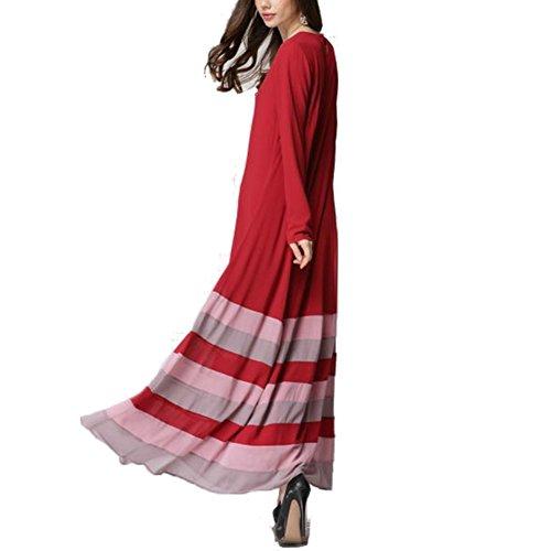 Highdas musulmanes adoran a las mujeres de manga larga vestido de color hechizo raya del arco iris grandes yardas vestido maix borgoña