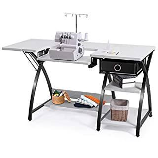 Costway Adjustable Sewing Craft Table with Drawer, Multifunction Crafting Machine Desk with Storage, Sturdy Computer Desk with White Finish, Ideal for Indoor, Home
