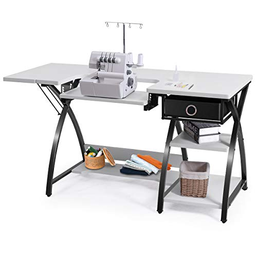 - Costway Home Indoor Adjustable Sewing Craft Table Sewing Machine Sturdy Computer Desk with Drawer & Shleves