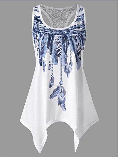 Fashion Eleganti Collo Estivi Huixin Asimmetrica Casuali con Blu Rotondo Smanicato Magliette Stampato Abbigliamento Unico Donna Camicie Irregular Camicetta Shirts Donna Ragazza Canotta wtqwvWrIf