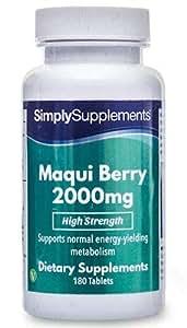 Bayas de Maqui 2000mg - 180 comprimidos - Suficiente para 2 meses - Con nutrientes esenciales para la pérdida de peso - SimplySupplements