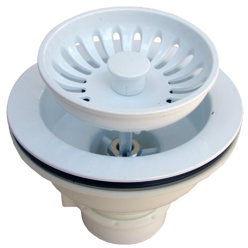 LASCO 03-1059W Heavy Duty PVC Body Kitchen Sink Basket Strainer Assembly, White by LASCO