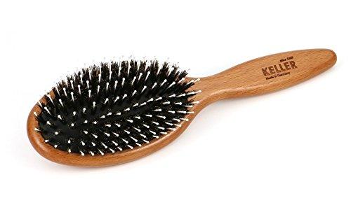 Haarbürste Professional edition - Massagehaarbürste aus gedämpften Buchenholz mit reinen Wildschweinborsten und Nylonstiften mit Noppen, groß, oval, pflegt das Haar, Maße ca. 21,5 x 6,3 cm groß Maße ca. 21 KulturGUT Shop