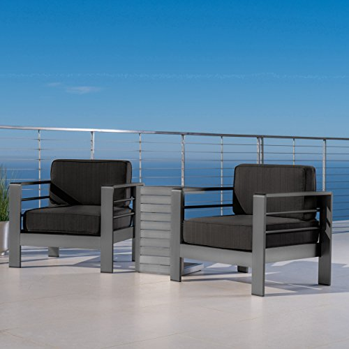 Crested Bay Patio Furniture | Outdoor Grey Aluminum 3 Piece Chat Set with Dark Grey Water Resistant Cushions