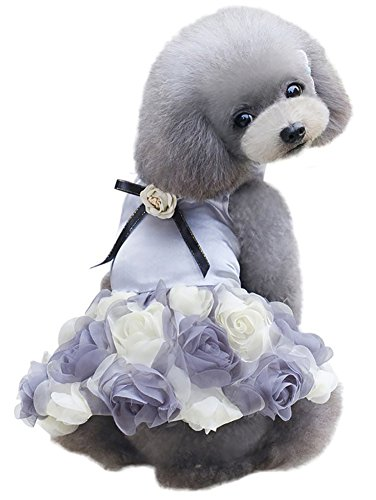 MaruPet Pet Small Dog Puppy Cat Clothes Coat Wedding Costume Satin Rose Formal Dress Tutu for Teddy, Pug, Chihuahua, Shih Tzu, Yorkshire Terriers Gray (Shih Tzu Ewok Costumes)
