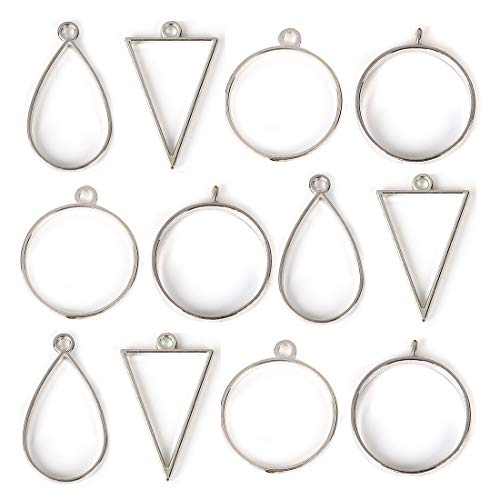 Pendant Back Loop - DROLE 40Pcs Antique Silver Open Back Bezel Pendants Assorted Geometric Hollow Frame Pendant Blanks for DIY Resin Crafts
