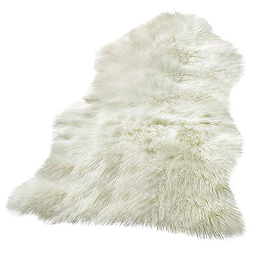 BUZIO Luxurious Soft Faux Sheepskin Rug Super Fluffy Silky Carpet for Bedroom Floor Sofa Chair Armchair or Couch, Ivory White, 24 x 36 Inches ()