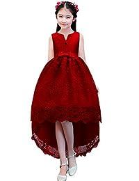 dressfan Princess Flower Girl Lace Trailing Dress for Party Wedding Birthday