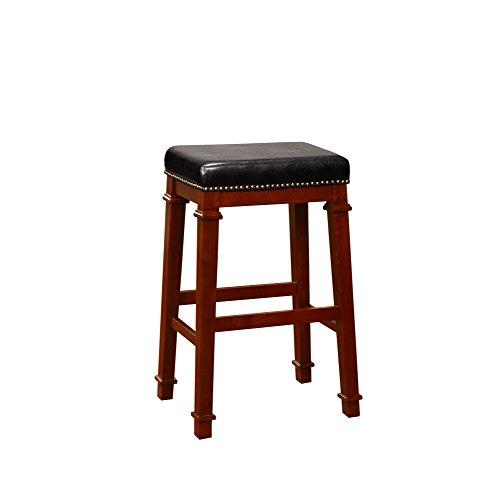 Linon 558122DKCHY01U Kennedy Backless PU bar Stool, Dark Cherry