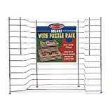 "Melissa & Doug Deluxe Wire Puzzle Storage Rack (Sturdy Metal Construction, Pre-assembled, Wooden Puzzle Storage, 16.5"" H x 13.2"" W x 8.2"" L)"