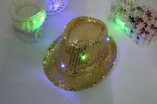 Celebration Sequin Hat (Domire Simplicity Fashion New Unisex Paillette LED Colorful flashing Cap Hat with Sequins Design / Golden)