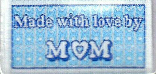 """4 LOVE LABELS""""MADE WITH LOVE BY MOM"""" IRON ON WOVEN LABELS"""