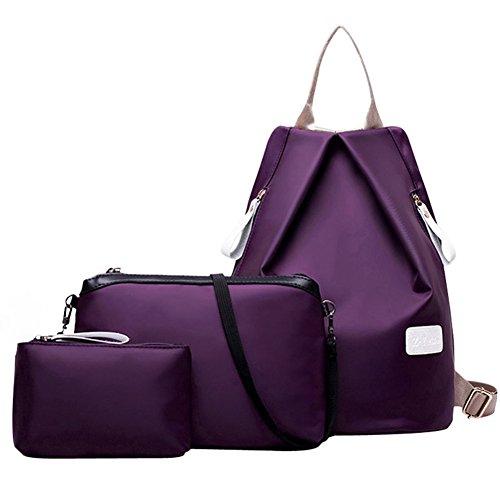 3 Turelifes Bags, Oxford Weave, Backpack, Hand Bag And Shoulder Bag, Waterproof Purple