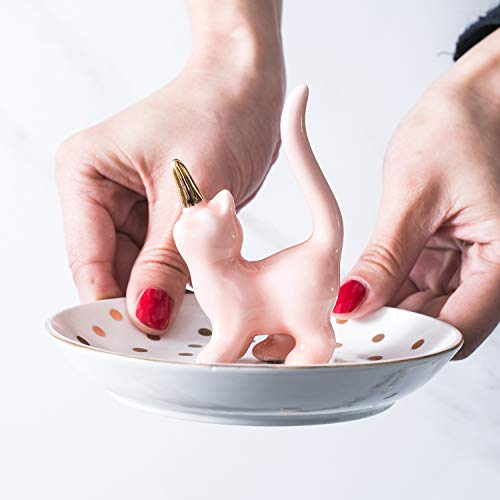 WANYA Adorable Cat Ring Holder Decor Jewelry Tray Ceramic Dish Organizer, Unicat