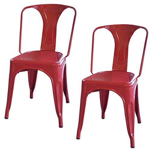 AmeriHome Metal Dining Chair, Silver, Set of 2