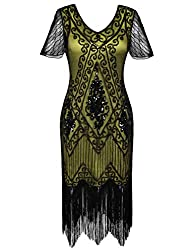 Black & Yellow 1920s Sequin Art Dress with Sleeve