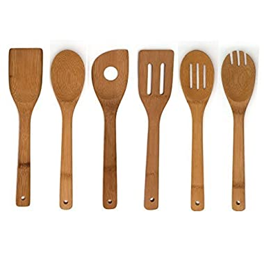Wooden Spoon Set of 6 Bamboo Kitchen Tools, Best Christmas Gift