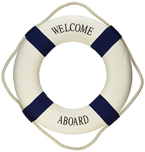 Ximkee Welcome Aboard Cloth Life Ring Navy Accent Nautical Decor 13.5