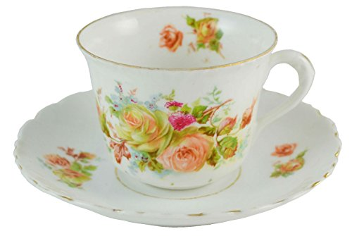 Retro Shabby Chic Saucer TEA SET Cup Floral Serving Porcelain Vintage Pink German 1930s LS