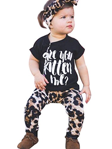 BANGELY 3Pcs Kid Baby Girls Outfits Spring Short Sleeve Letters Print T Shirt+Leopard Pants+Headband Set Size 12-18Month/Tag80 (Black)