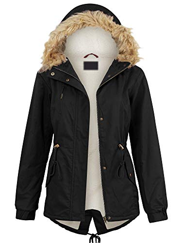 Lock and Love LL WJC2068 Womens Inner Fur Lined Military Anorak Parka Jacket Detachable Hood Fur Trim S Black (Parka Fur Jackets)