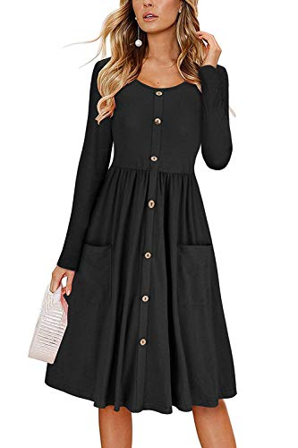 with Button Down Black Dress Befily Long Midi Pockets Swing Sleeve Loose Womens xIPzPt