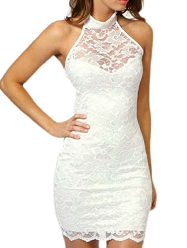 Neck Dress Halter Party Lace White Cocktail Jaycargogo Elegant Women's Short Backless qtStZ