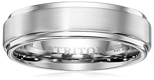 Triton Men's Grey Tungsten 6mm Step Edge Comfort Fit Band, Size 10.5 by Amazon Collection