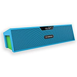 Soundance Wireless Bluetooth Speaker FM Radio Alarm Clock: Portable Radio Speaker with Digital LED USB Rechargeable for Office Desk Home Bedroom Bedside iPhone Android Desktop Computer, SDY019 Blue