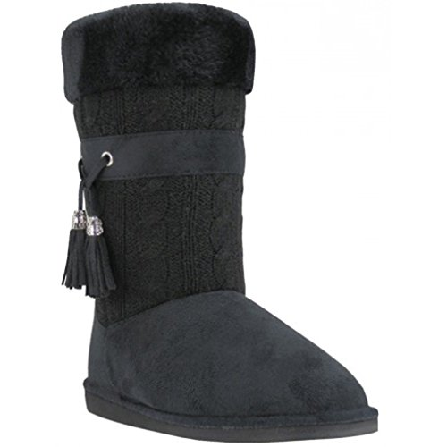 G4u-eas B5a570l Dameslaarzen Breiwerk Faux Suede Mode Kwastje Haak Middenkalf Bontvoering Warme Schoenen, Zwart, Grijs, Bruin Zwart