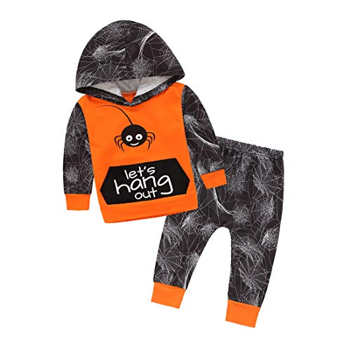 Neeseelily Baby Girl Boys Long Sleeve Spider Letter Print Hoodie Top Sweatsuit Pants Outfit Clothes Set (18-24 Months, Orange)