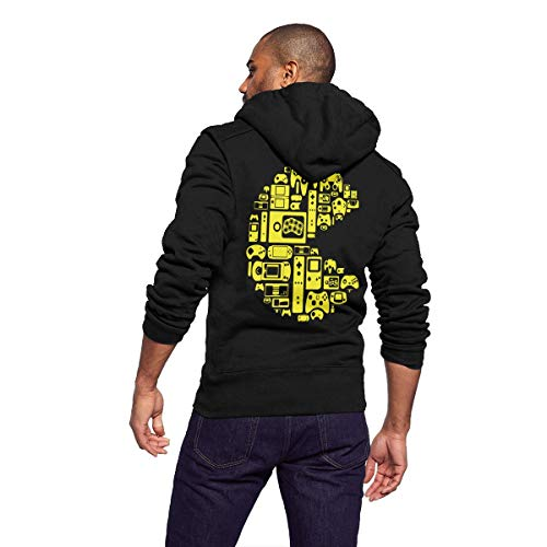 Men Casual Lightweight Full Zip Fleece Hoodie Jackets Outwear Coat with Kangaroo Pockets - Retro Video Game Themed (Zip Hoodie Faith)