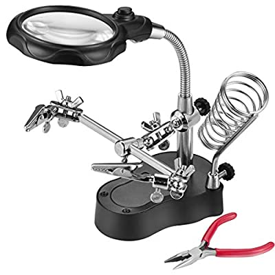 Lnchett Led Light Magnifier & Desk Lamp Helping Hand with Magnifying Glass …