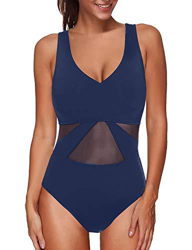 LookbookStore Women's Sexy Strappy Crisscross Open Back Mesh One Piece Swimsuit Solid Royal Blue Bathing Suit Swimwear Size S US 4 6 ()