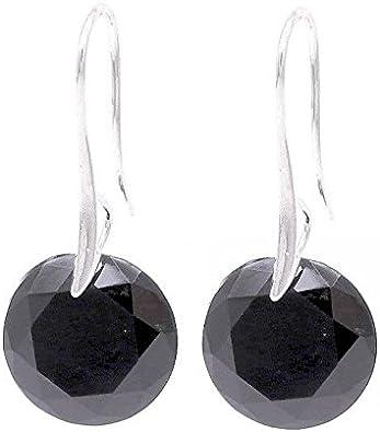 Redonda de color negro con cristales de Swarovski Juego de pendientes de cristal