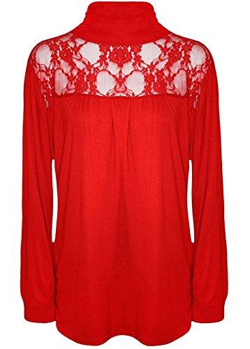 Taille Red Femme Manches Noir T Unique Longues shirt 21fashion F4qHwaT