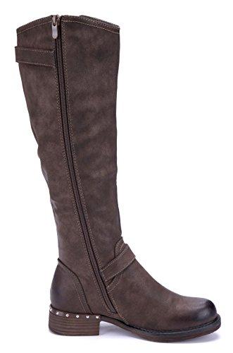 Schuhtempel24 Damen Schuhe Klassische Stiefel Stiefeletten Boots Blockabsatz Schnalle/Nieten 3 cm Braun