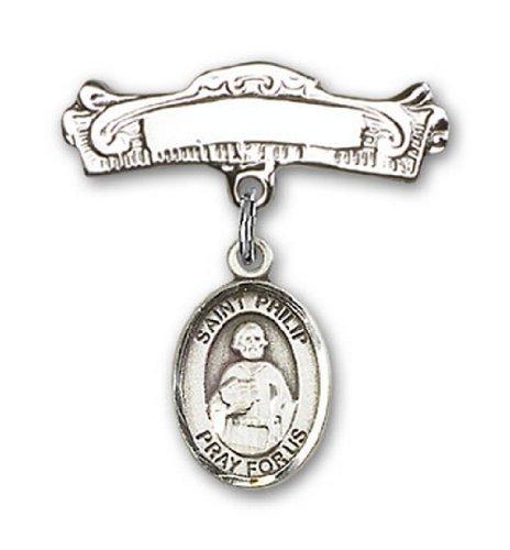 Icecarats Créatrice De Bijoux En Argent Sterling St. Philip La Broche Badge Voûtée De Charme Apôtre 7/8 X 7/8