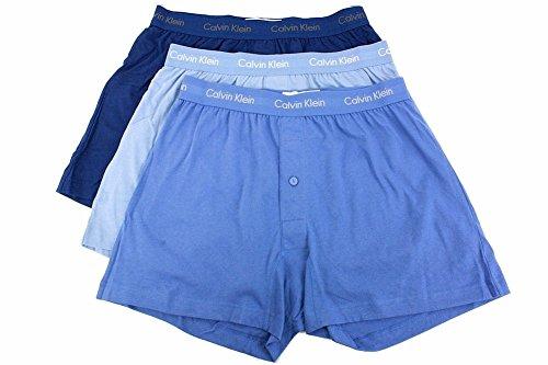 Calvin Klein Men's 3-Pack Classic Knit Boxer, Blue Depths, X-Large