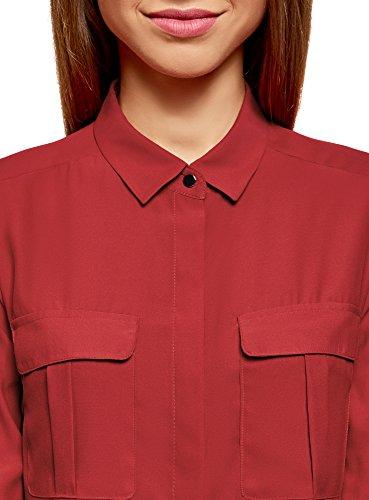 oodji Ultra Mujer Blusa de Viscosa con Longitud Regulable de las Mangas Rojo (4500N)