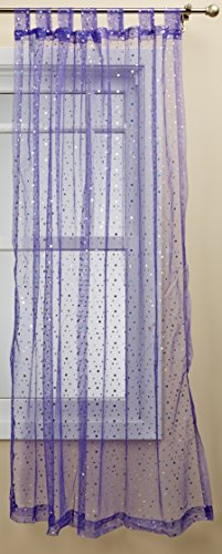 (1888 Mills Groovy 50-inch-by-84-inch Single Tab-Top Panel Sheer with Sequins, Purple)