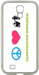 Rikki KnightTM Peace Love Sanitation Worker Design Samsung\xae Galaxy S4 Case Cover (White Hard Rubber TPU with Bumper Protection) for Samsung Galaxy S4