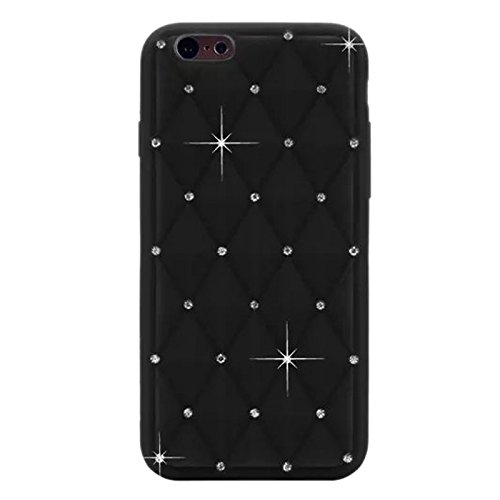 "Apple iPhone 6 4.7"" Silikon Case Glitzer Bling Rhombus Hülle Cover Schwarz"