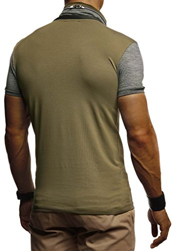 Leif Nelson Herren Sommer T-Shirt Stehkragen Slim Fit Casual Baumwolle-Anteil Cooles weißes schwarzes Männer Kurzarm-T-Shirt Hoodie-Sweatshirt-Longsleeve lang LN805