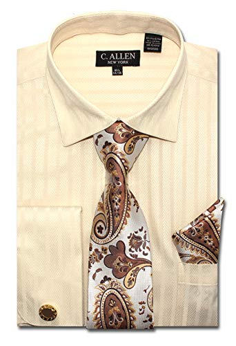 Men's Solid Striped Herringbone Pattern Regular Fit Dress Shirts with Tie/Hanky Cufflinks Combo (Ivory, 17.5