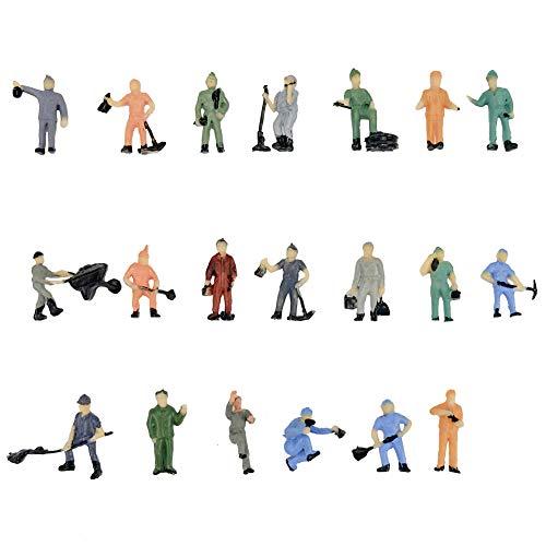 CWBPING 20pcs Model Train Worker People Figures 1:87 HO Scale Railway Model Painted Worker Miniatures