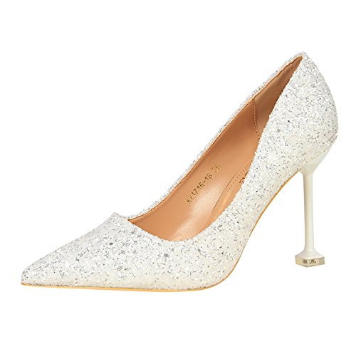 shoes high marriage tip single shoes female crystal leather mother white shoes a gradient fine heeled 39 Qiqi Silver Xue with with vSZqxTIT