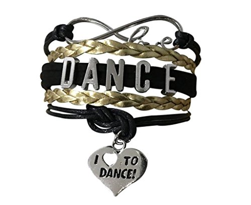 (Infinity Collection Dance Bracelet- Dance Jewelry -I Love Dance Charm Bracelet for Dance Recitals & Dancers)