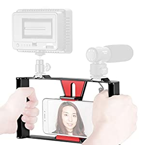 Neewer Smartphone Video Rig, Filmmaking Recording Vlogging Rig Case, Handheld Grip Stabilizer with Cold Shoe Mount for iPhone 7 Plus Sumsang and Others within 7-inch Screen, LED Light, Microphone
