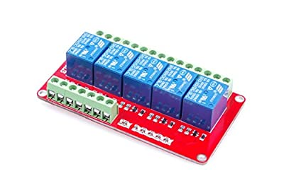 LM YN 5-Channel Relay Control Module 5CH Relay Module Low Level Trigger With Red and Blue Indicators for Arduino